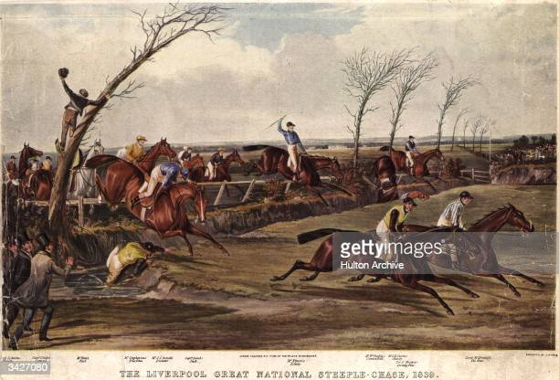 Racehorses Pioneer Conrad Rust True Blue Dictator Jack Lottery Cannon Ball Charity Seventy Four and The Nun clear the ditch in the Grand National...