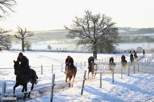 Racehorses workout in heavy snow during the morning gallops at the yard of national hunt trainer Nigel TwistonDavies on December 12 2017 in Naunton...