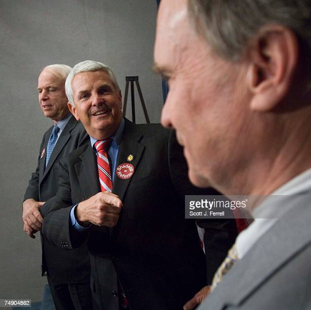 RACEJohn Shadegg RAriz middle with supporters Charles Bass RNH right and Sen John McCain RAriz the Republican most clearly identified in the public's...