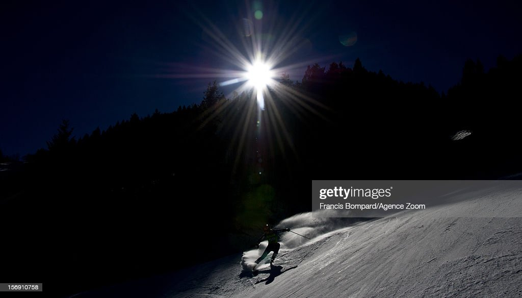 A racer competes during the Audi FIS Alpine Ski World Cup Women's Giant Slalom on November 24, 2012 in Aspen, Colorado.