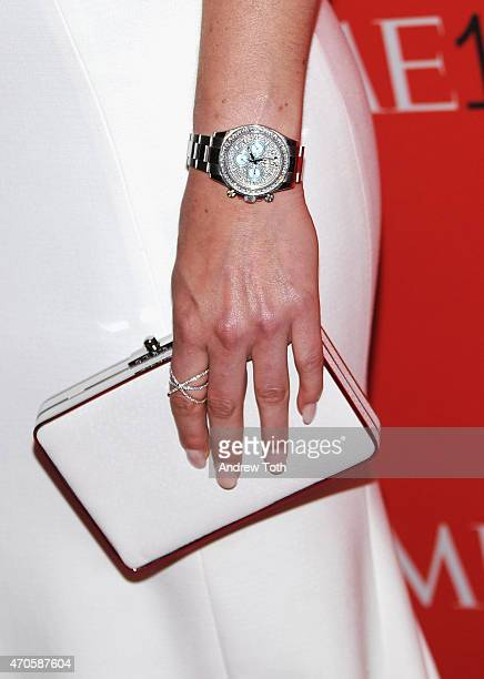 Racer Lindsey Vonn handbag and watch detail attends the 2015 Time 100 Gala at Frederick P Rose Hall Jazz at Lincoln Center on April 21 2015 in New...
