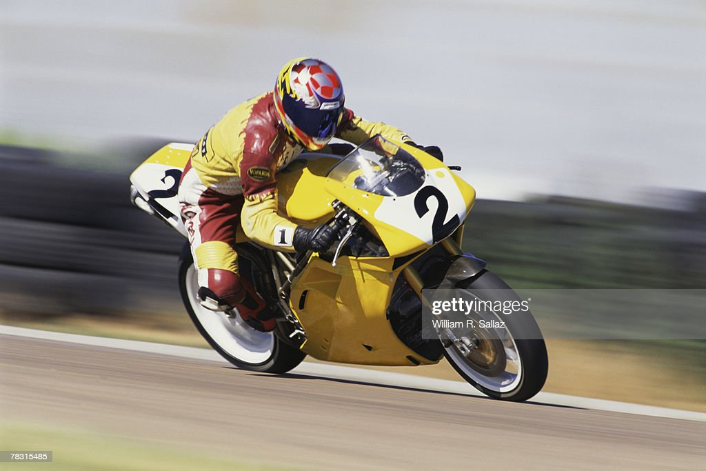 Racer on motorcycle : Stock Photo