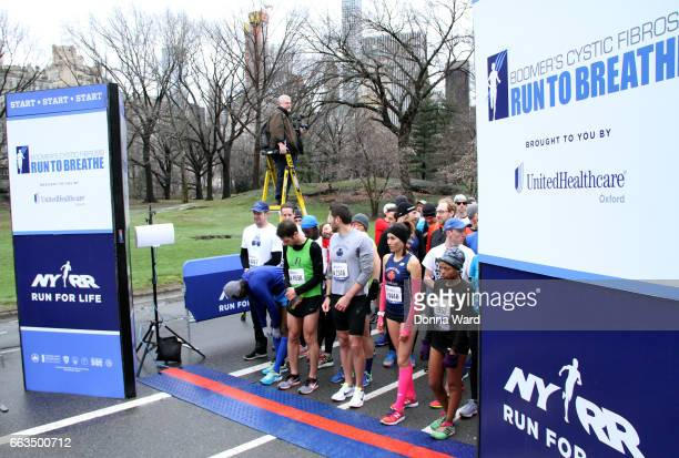 Racers compete during Boomer's Cystic Fibrosis 'Run To Breathe' Charity Event at Central Park Bandshell on April 1 2017 in New York City
