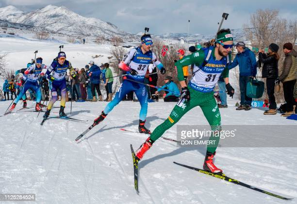 Racers compete during the men's 125 KM pursuit of the IBU World Cup Biathlon February 16 2019 at Soldier Hollow Nordic Center in Midway Utah