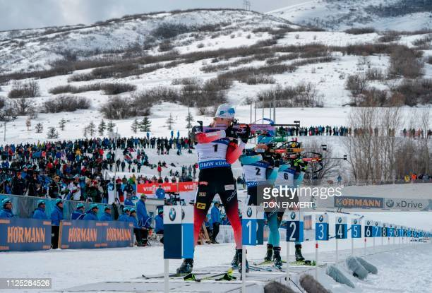TOPSHOT Racers compete during the men's 125 KM pursuit of the IBU World Cup Biathlon February 16 2019 at Soldier Hollow Nordic Center in Midway Utah
