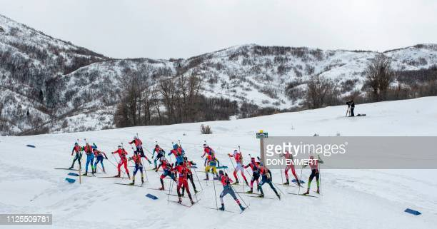 Racers compete during the mixed 2X7.5 + 2X6 KM relay of the IBU World Cup Biathlon February 17, 2019 at Soldier Hollow Nordic Center in Midway, Utah.