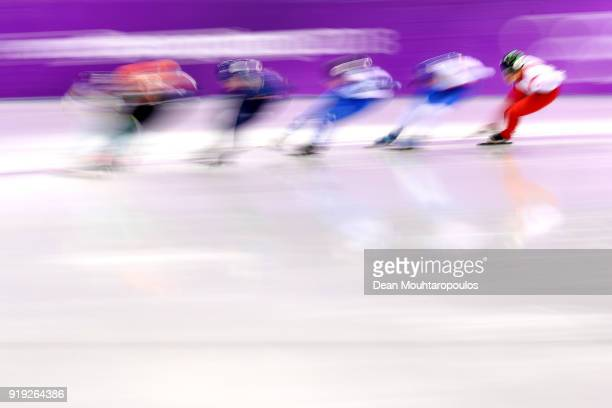 Racers compete during the Short Track Speed Skating Ladies' 1500m heats on day eight of the PyeongChang 2018 Winter Olympic Games at Gangneung Ice...