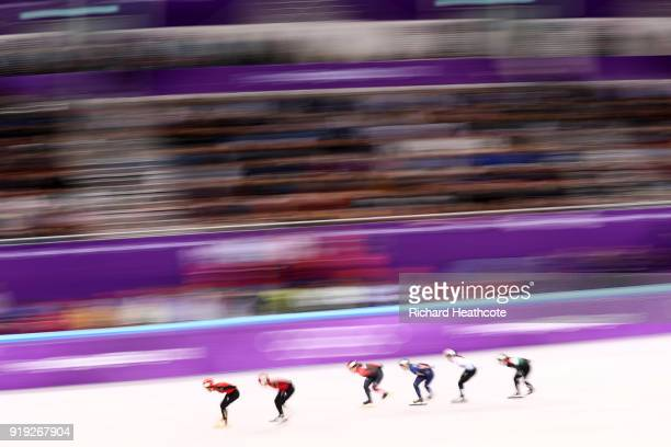 Racers compete during the Short Track Speed Skating Ladies' 1500m Semifinals on day eight of the PyeongChang 2018 Winter Olympic Games at Gangneung...