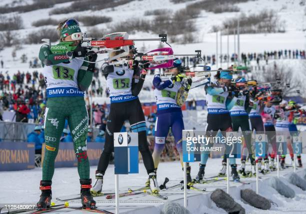 Racers compete during the single mixed relay of the IBU World Cup Biathlon February 17 2019 at Soldier Hollow Nordic Center in Midway Utah