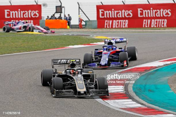 Racers compete in the Formula 1 Heineken Chinese Grand Prix 2019 at the Shanghai International Circuit on April 14 2019 in Shanghai China