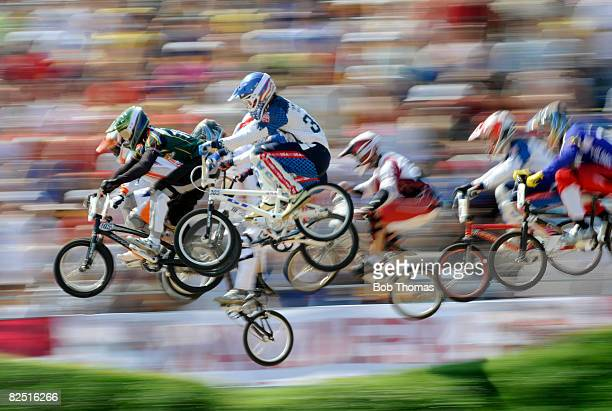Racers compete in the Men's BMX semifinals held at the Laoshan Bicycle Moto Cross Venue during Day 14 of the Beijing 2008 Olympic Games on August 22...