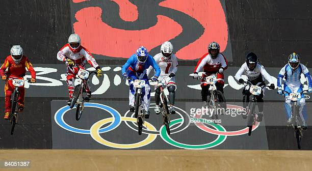 Racers compete in the Women's BMX semifinals held at the Laoshan Bicycle Moto Cross Venue during Day 14 of the Beijing 2008 Olympic Games on August...