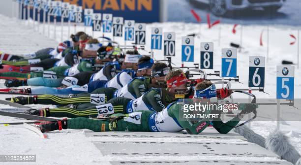 Racers competes during the men's 125 KM pursuit of the IBU World Cup Biathlon February 16 2019 at Soldier Hollow Nordic Center in Midway Utah