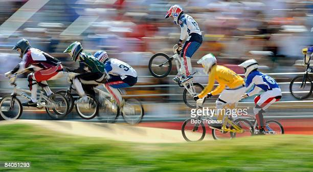Racers during the Men's BMX final run held at the Laoshan Bicycle Moto Cross Venue during Day 14 of the Beijing 2008 Olympic Games on August 22, 2008...