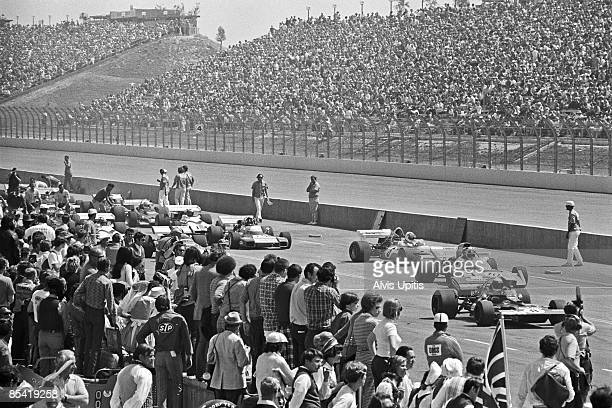 Racers grid at the Ontario Motor Speedway before the Questor Grand Prix in which Formula One cars competed with Formula A cars on March 28 1971 in...
