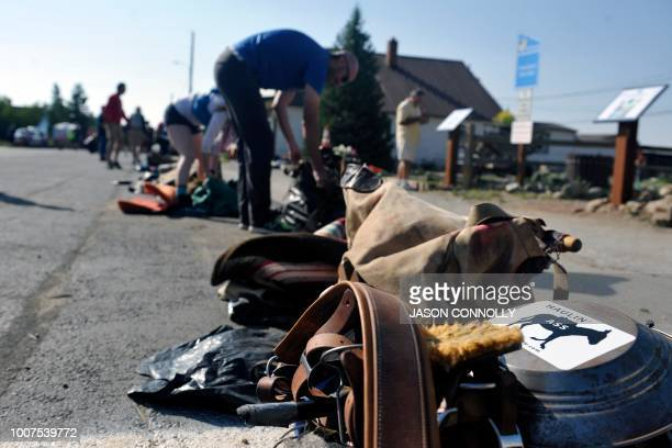 Racers' pack saddles rest on the ground before being weighedin for the Pack Burro Race during the 70th Annual Burro Days in Fairplay Colorado on July...