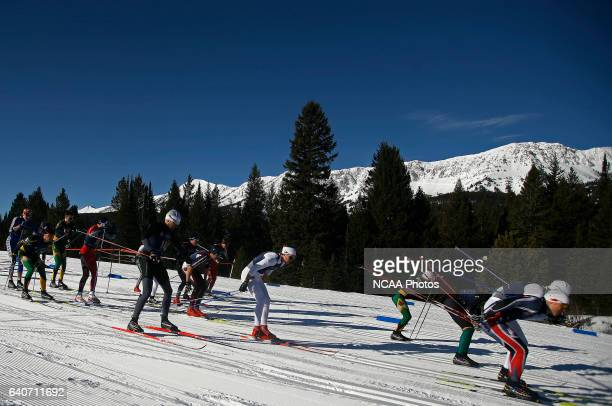 Racers push during the mass start of the Men's 20k classic as part of the Men's and Women's Skiing Championships held at Bohart Ranch Cross Country...