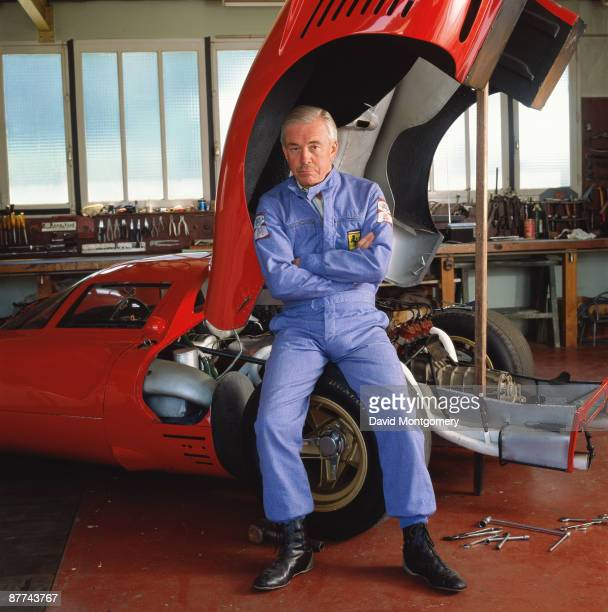Racetrack owner and Ferrari collector Pierre Bardinon in his workshop with a 1966 Ferrari 206 Dino France 24th May 1995