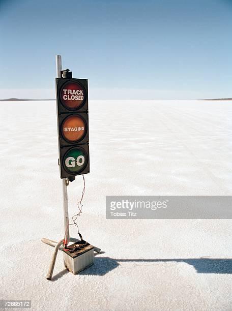 Racetrack starting signal on salt flat