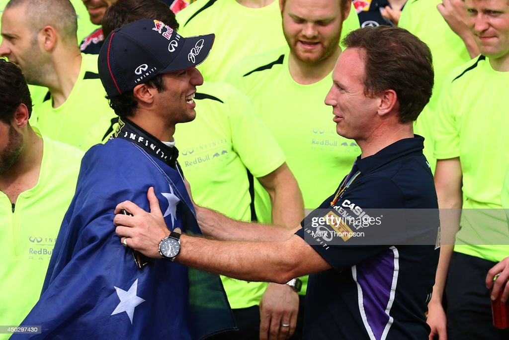 Racewinner Daniel Ricciardo of Australia and Infiniti Red Bull Racing celebrates wit Christian Horner the Infiniti Red Bull Racing Team Principal following his first Grand Prix victory during the Canadian Formula One Grand Prix at Circuit Gilles Villeneuve on June 8, 2014 in Montreal, Canada.