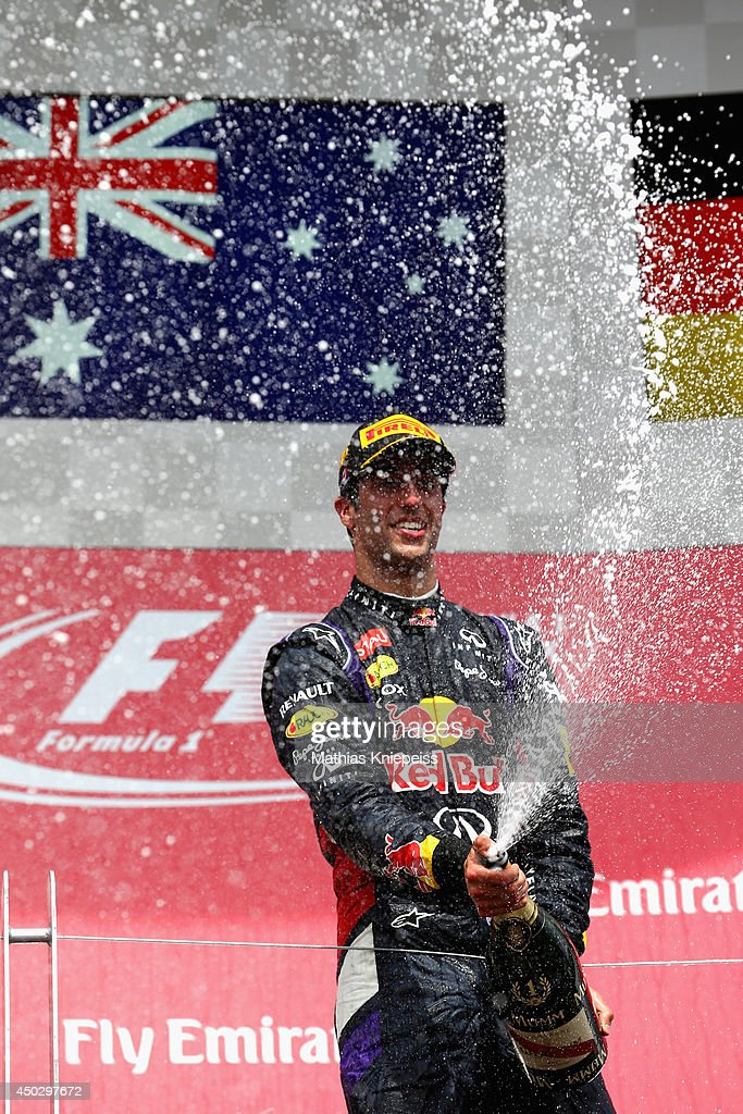 Racewinner Daniel Ricciardo of Australia and Infiniti Red Bull Racing celebrates following his victory during the Canadian Formula One Grand Prix at Circuit Gilles Villeneuve on June 8, 2014 in Montreal, Canada.