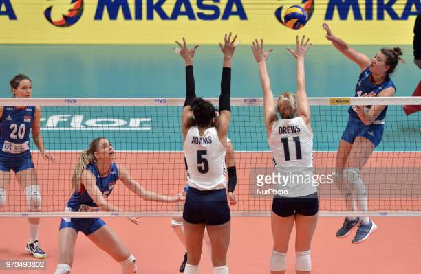 Rachael Adams and Annie Drews of USA in action during FIVB Volleyball Nations League on 12 June 2018 in Santa Fe Argentina The US Womens National...