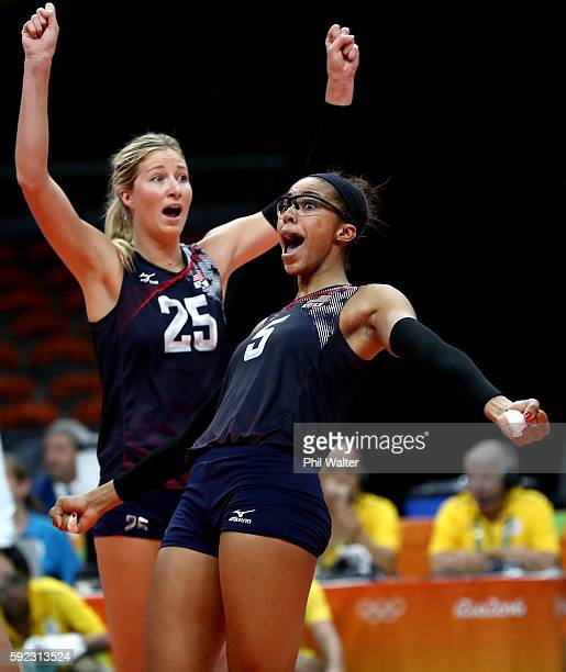 Rachael Adams and Karsta Lowe of United States celebrate winning the third set during the Women's Bronze Medal Match between Netherlands and the...