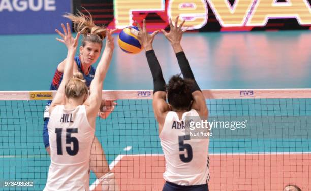 Rachael Adams and Kim Hill of USA in action during FIVB Volleyball Nations League on 12 June 2018 in Santa Fe Argentina The US Womens National Team...