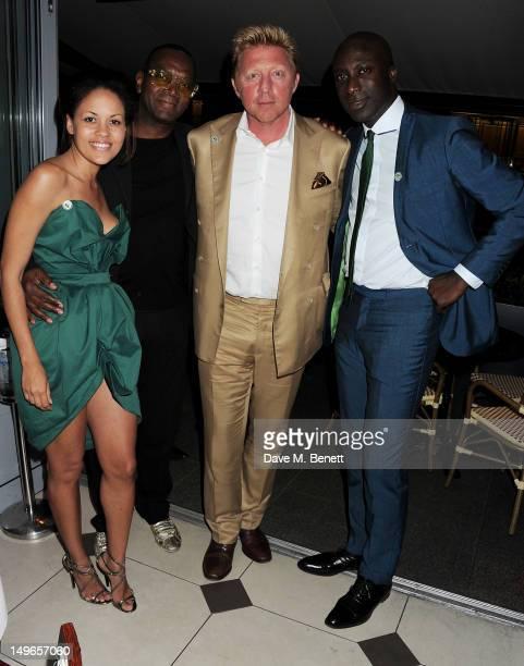 Rachael Barrett Dennis Morris Boris Becker and Ozwald Boateng attend a private dinner hosted by Rachael Barrett celebrating Jamaica's Emancipation...