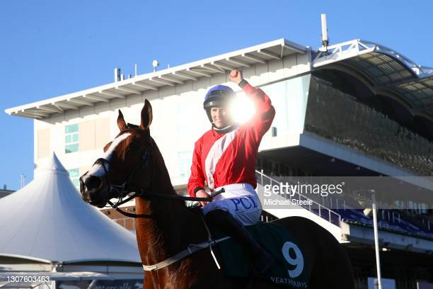 Rachael Blackmore celebrates victory after the Weatherbys Champion Bumper race on Day Two of the Cheltenham Festival 2021 at Cheltenham Racecourse on...