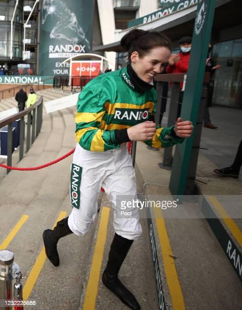 Rachael Blackmore celebrates winning on Minella Times, the Randox Grand National Handicap Chase, on Grand National Day of the 2021 Randox Health...