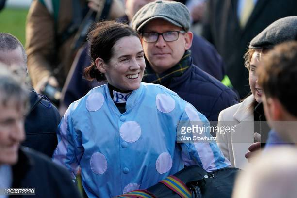 Rachael Blackmore returns after riding Honeysuckle to win The PCI Irish Champion Hurdle during the Dublin Racing Festival at Leopardstown Racecourse...