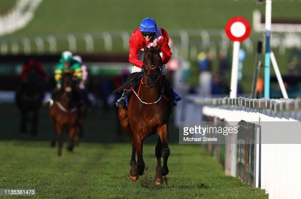 Rachael Blackmore rides A Plus Tard to victory during the Close Brothers Novices' Handicap Chase on Champion Day of the Cheltenham Festival at...