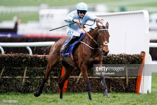 Rachael Blackmore riding Honeysuckle clear the last to win The Close Brothers Mares' Hurdle on Champion Day at Cheltenham Racecourse on March 10 2020...