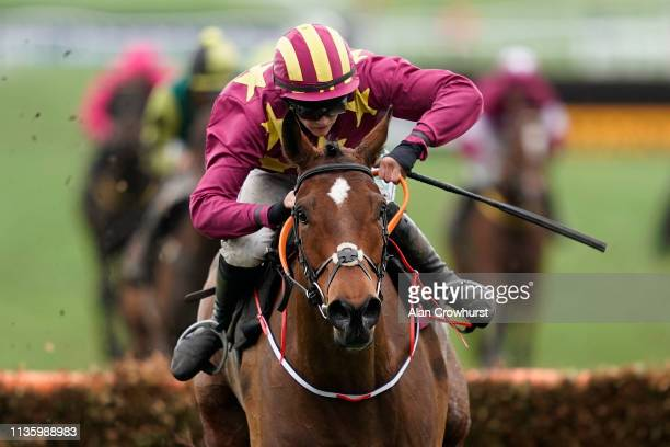 Rachael Blackmore riding Minella Indo clear the last to win The Albert Bartlett Novices' Hurdle on Gold Cup Day at Cheltenham Racecourse on March 15,...
