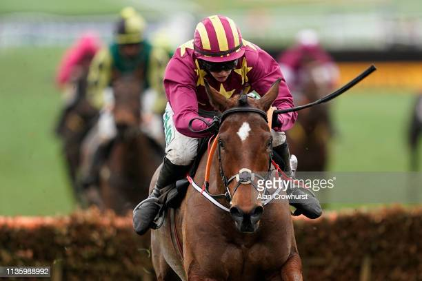 Rachael Blackmore riding Minella Indo clear the last to win The Albert Bartlett Novices' Hurdle on Gold Cup Day at Cheltenham Racecourse on March 15...