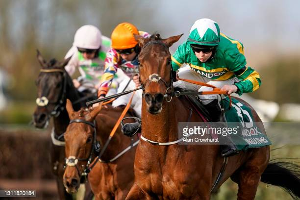 Rachael Blackmore riding Minella Times clear the last to win The Randox Grand National Handicap Chase at Aintree Racecourse on April 10, 2021 in...