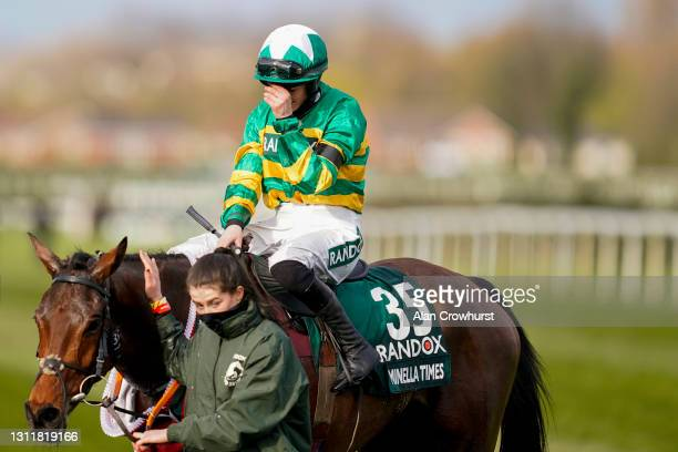 Rachael Blackmore shows emotion after riding Minella Times to win The Randox Grand National Handicap Chase at Aintree Racecourse on April 10, 2021 in...
