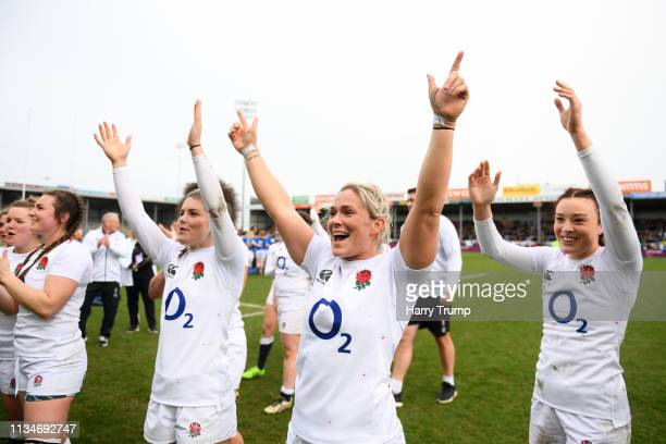 Rachael Burford of England and Kelly Smith of England during celebrate victory after the Womens Six Nations match between England and Italy at Sandy...