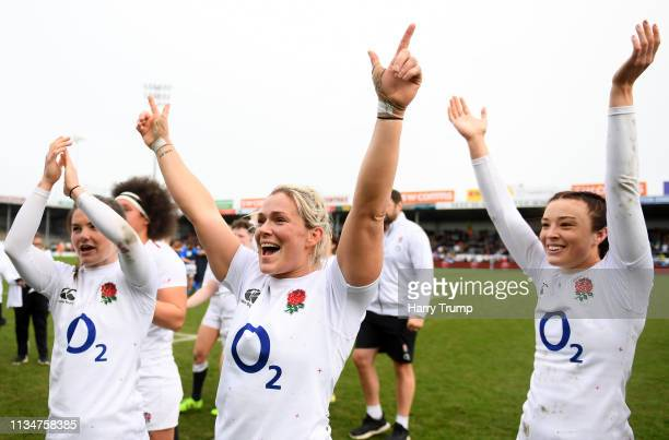 Rachael Burford of England celebrates victory during the Womens Six Nations match between England and Italy at Sandy Park on March 09, 2019 in...