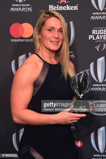 Rachael Burford of England poses with the IRPA Special Merit Award during the World Rugby Awards 2017 in the Salle des Etoiles at MonteCarlo Sporting...