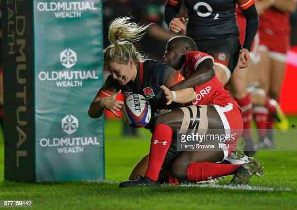 Rachael Burford of England scores their first try during the Old Mutual Wealth Series match between England Women and Canada Women at Twickenham...