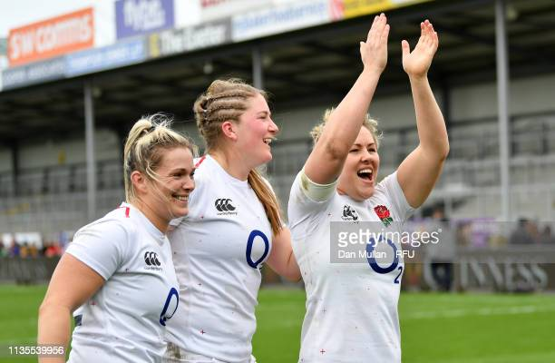 Rachael Burford Poppy Cleall and Marlie Packer of England celebrate following the Womens Six Nations match between England and Italy at Sandy Park on...