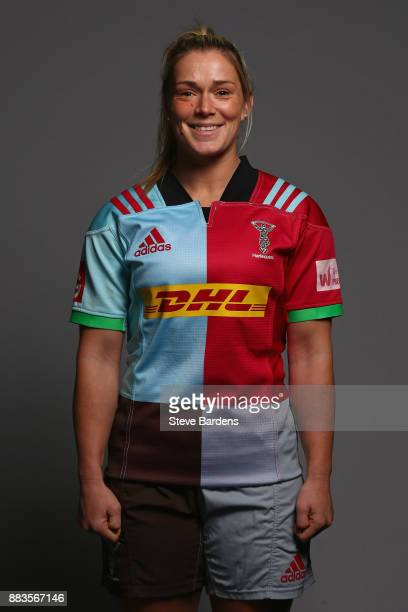 Rachael Burford poses for a portrait during the Harlequins Ladies Squad Photo call for the 2017/18 Tyrrells Premier 15s Season at Surrey Sports Park...