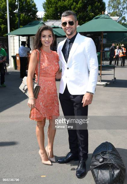Rachael Cordingley and Carl Froch attend day six of the Wimbledon Tennis Championships at the All England Lawn Tennis and Croquet Club on July 7 2018...