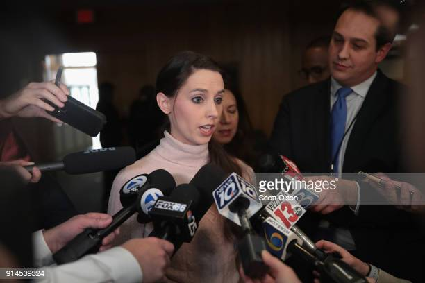 Rachael Denhollander who was sexually abused by Larry Nassar beginning when she was 15yearsold speaks to the press after Nassar's sentencing hearing...