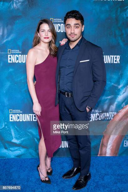 Rachael Emrich and EJ Bonilla attend the National Geographic Encounter Blue Carpet VIP Preview Celebration on October 4 2017 in New York City