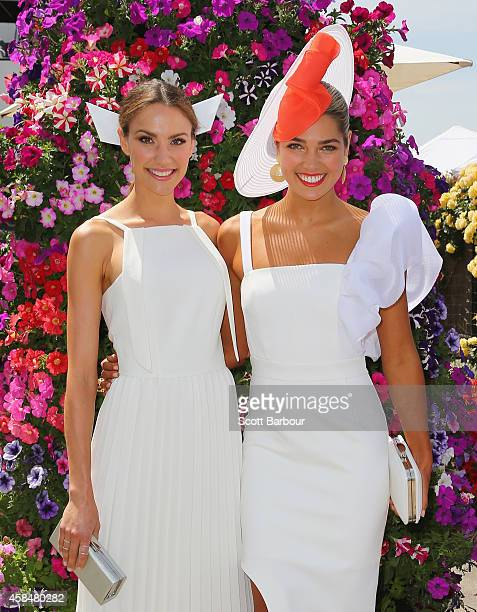 Rachael Finch and Ashley Hart attend on Oaks Day at Flemington Racecourse on November 6 2014 in Melbourne Australia