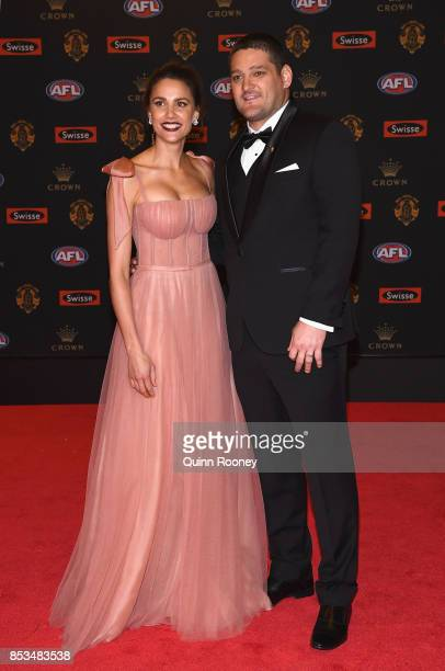 Rachael Finch and Brendan Fevola pose ahead of the 2017 Brownlow Medal at Crown Entertainment Complex on September 25 2017 in Melbourne Australia