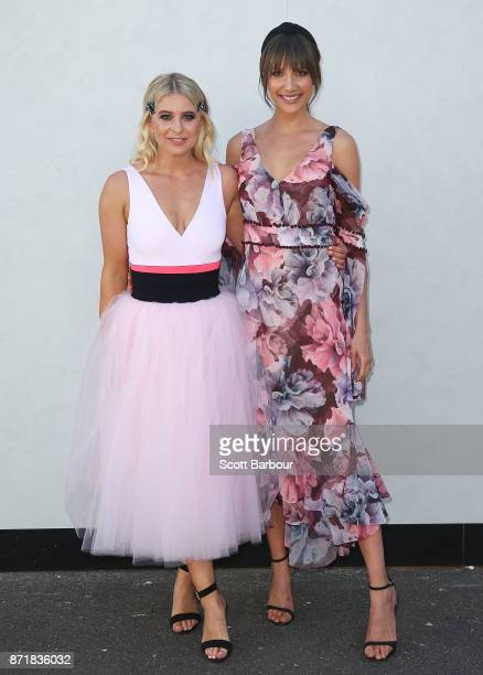 Rachael Finch and Emma Davenport attend on Oaks Day at Flemington Racecourse on November 9 2017 in Melbourne Australia
